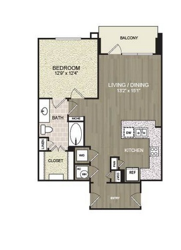 801 sq. ft. A25 floor plan
