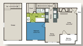 678 sq. ft. 1d w/Gar floor plan