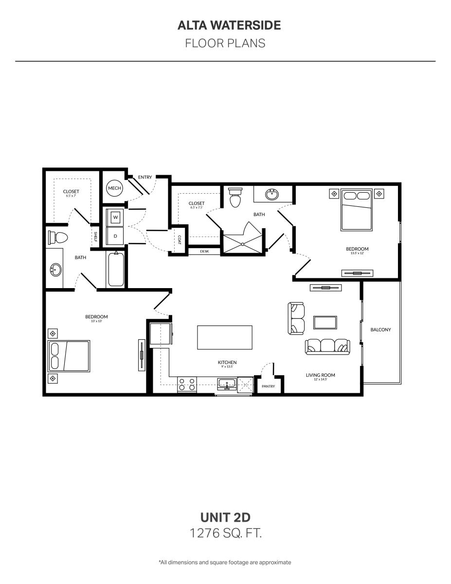 1,276 sq. ft. 2D floor plan