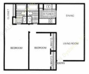 1,019 sq. ft. Rosehill floor plan