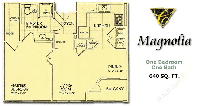 640 sq. ft. Magnolia/60 floor plan