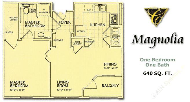 640 sq. ft. Magnolia/60% floor plan