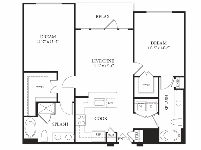 1,124 sq. ft. Queensland floor plan