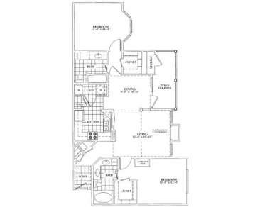 1,229 sq. ft. D floor plan