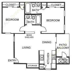 810 sq. ft. B2 floor plan