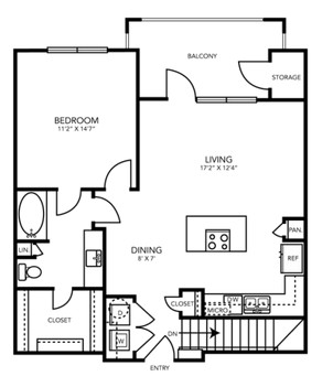 867 sq. ft. A6G floor plan