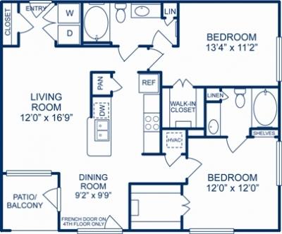1,111 sq. ft. PHILADELPHIA floor plan