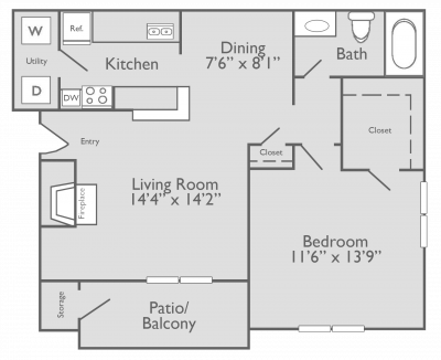 690 sq. ft. A2 floor plan