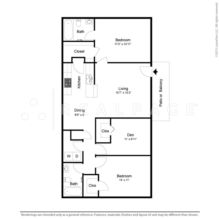 1,176 sq. ft. Elizabeth floor plan