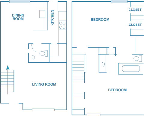 1,100 sq. ft. B2T floor plan