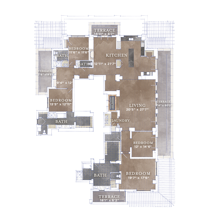 3,986 sq. ft. PH-1 floor plan