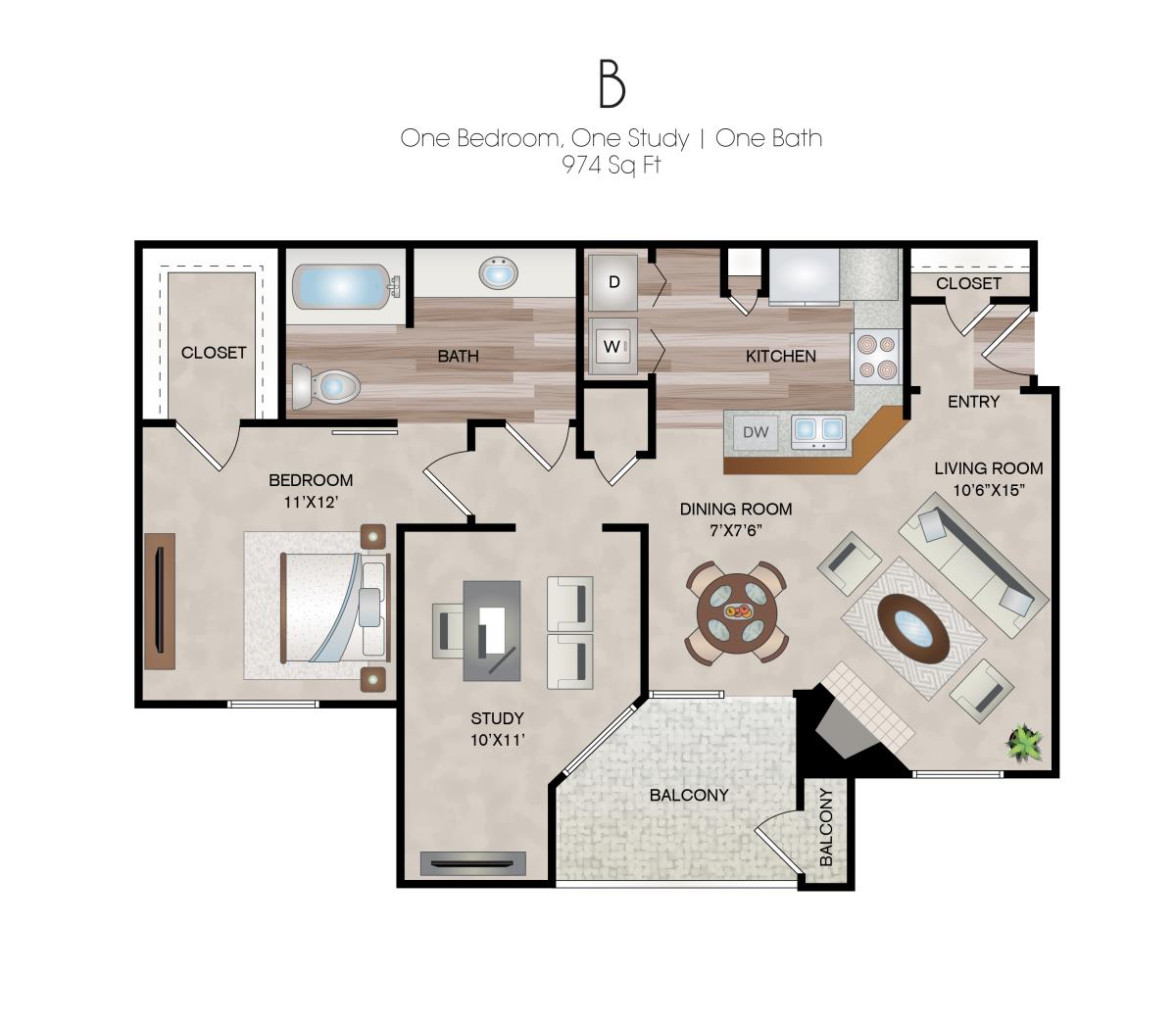974 sq. ft. B floor plan