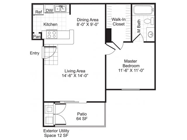 548 sq. ft. A1/Minow floor plan