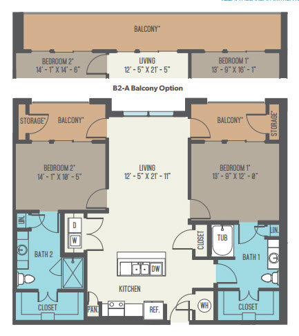 1,201 sq. ft. B2 floor plan