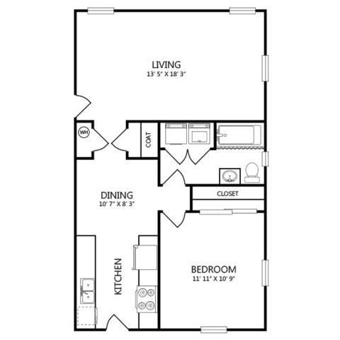 683 sq. ft. A5 floor plan