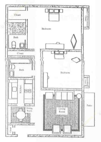 888 sq. ft. B1-F floor plan