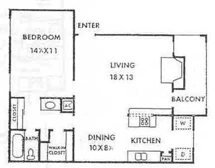 751 sq. ft. Waterfall floor plan