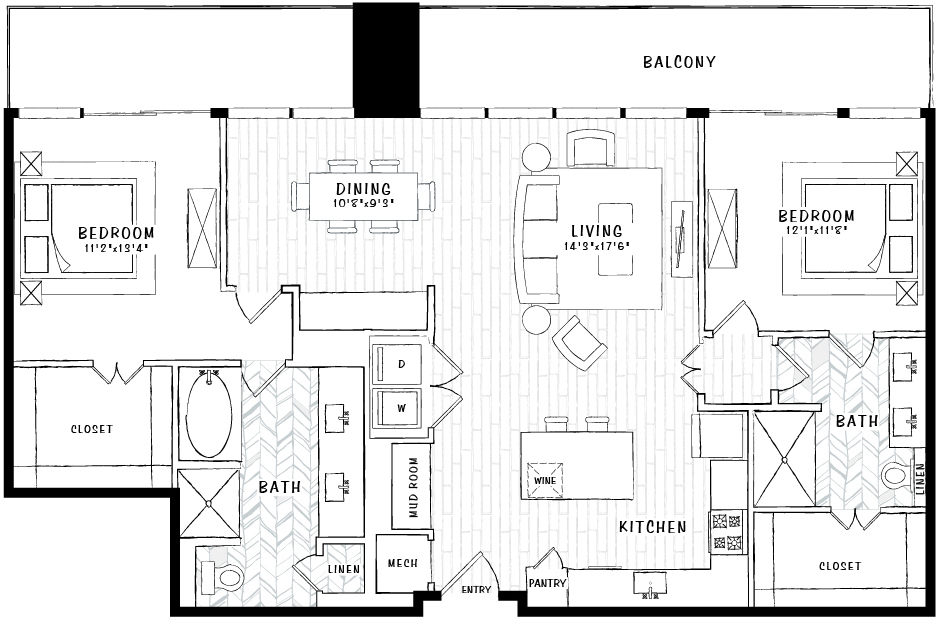 1,332 sq. ft. PH1 floor plan