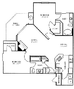 1,136 sq. ft. D floor plan