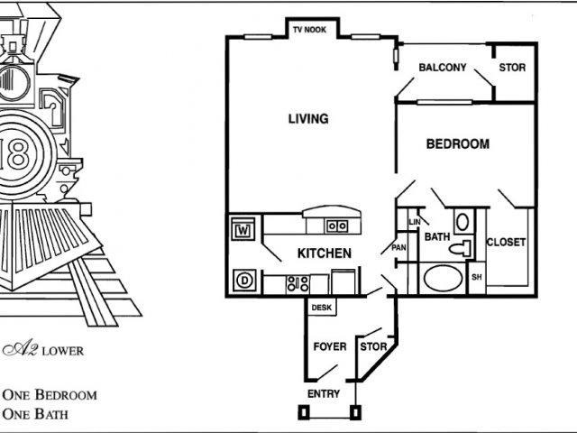 869 sq. ft. A7 floor plan