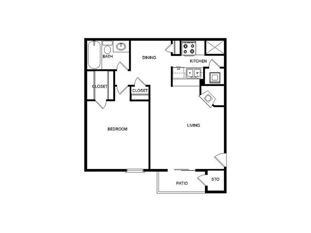 612 sq. ft. I/D floor plan