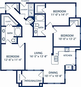1,362 sq. ft. Willow floor plan
