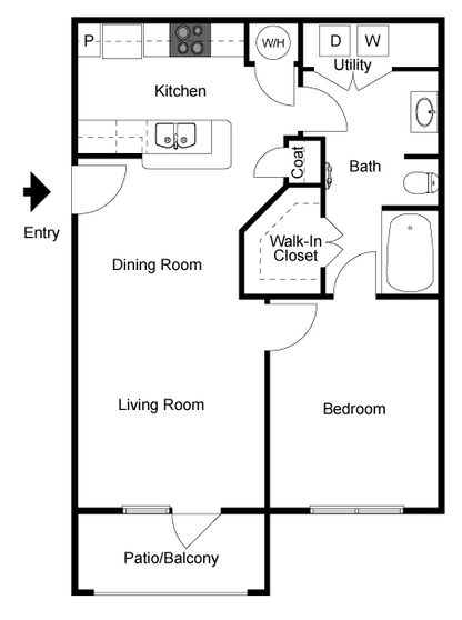 768 sq. ft. Parker floor plan