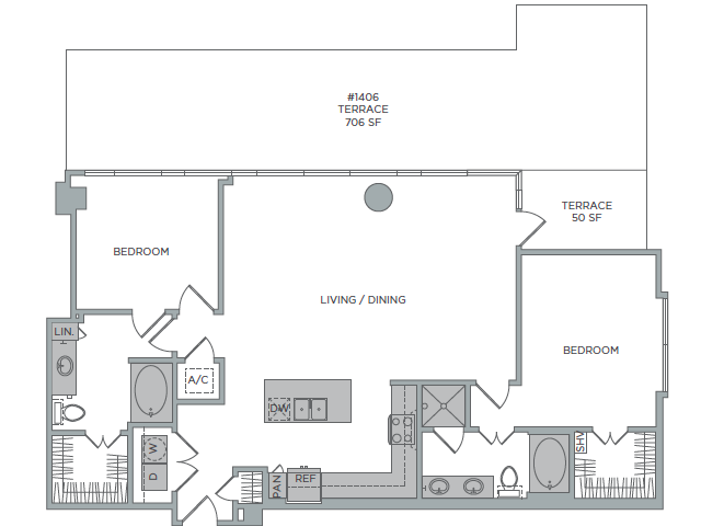 1,515 sq. ft. 2G floor plan