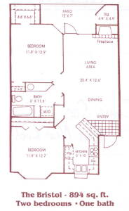 894 sq. ft. B1 floor plan