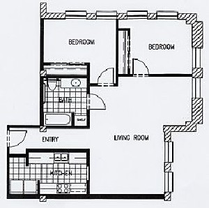 933 sq. ft. P5B-60 floor plan