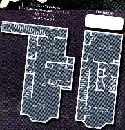 1,057 sq. ft. to 1,178 sq. ft. B2B/60% floor plan