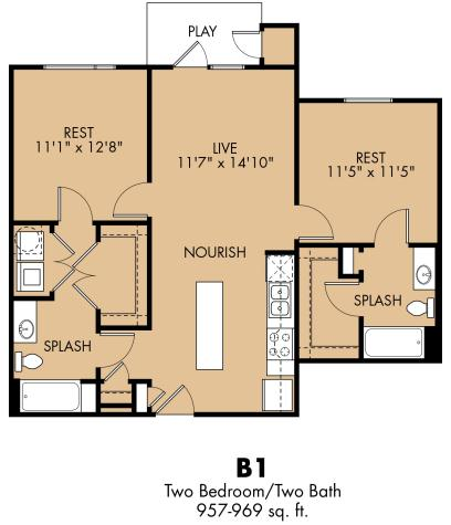 957 sq. ft. B1x floor plan