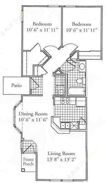 822 sq. ft. B floor plan