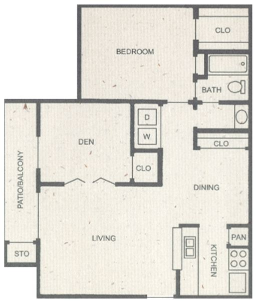 904 sq. ft. D1 floor plan