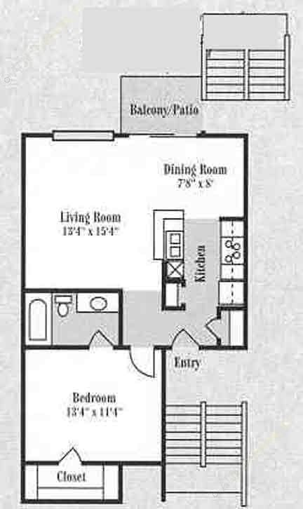 751 sq. ft. A2 floor plan