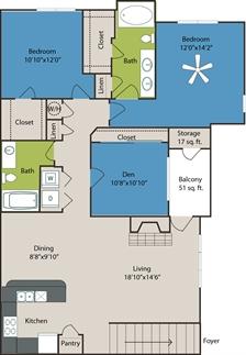 1,413 sq. ft. C3 floor plan
