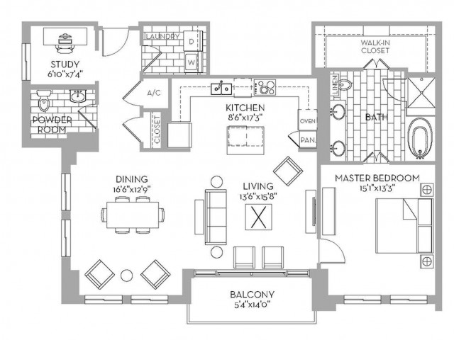 1,378 sq. ft. Preston(A.12) floor plan