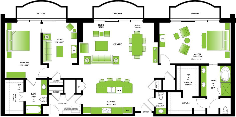 2,271 sq. ft. Penthouse II floor plan