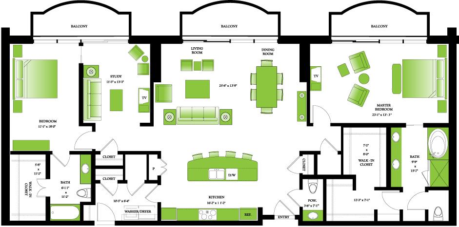 2,271 sq. ft. Penthouse II floor plan