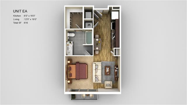 616 sq. ft. EA1 floor plan
