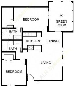 1,048 sq. ft. Phoenix I floor plan