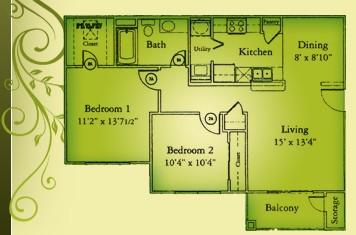 921 sq. ft. B1/60 floor plan