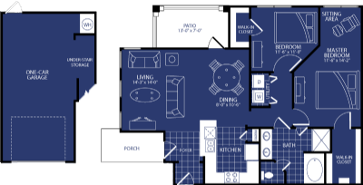 1,088 sq. ft. Electra floor plan