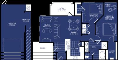 1,088 sq. ft. Electra floor plan