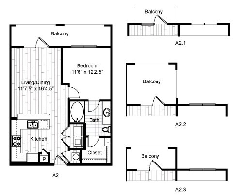 672 sq. ft. A2A floor plan