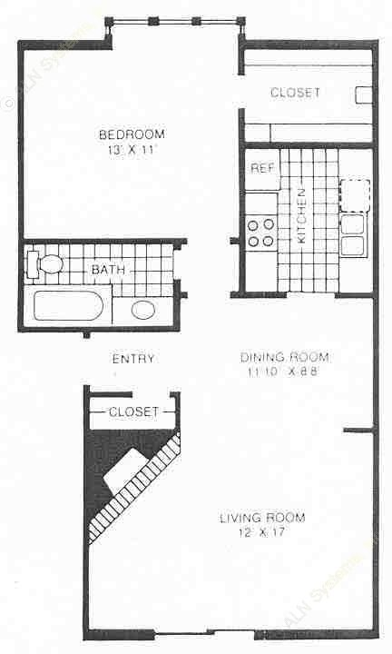 705 sq. ft. B1 floor plan