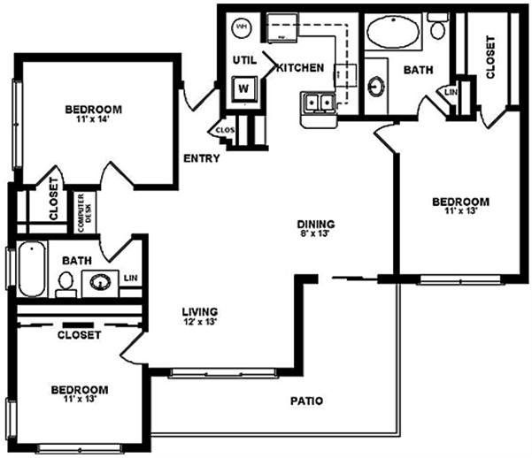 1,268 sq. ft. F1 floor plan