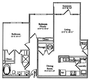 1,016 sq. ft. Patio floor plan