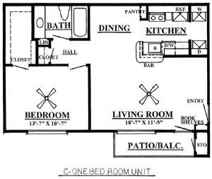 659 sq. ft. C 60% floor plan