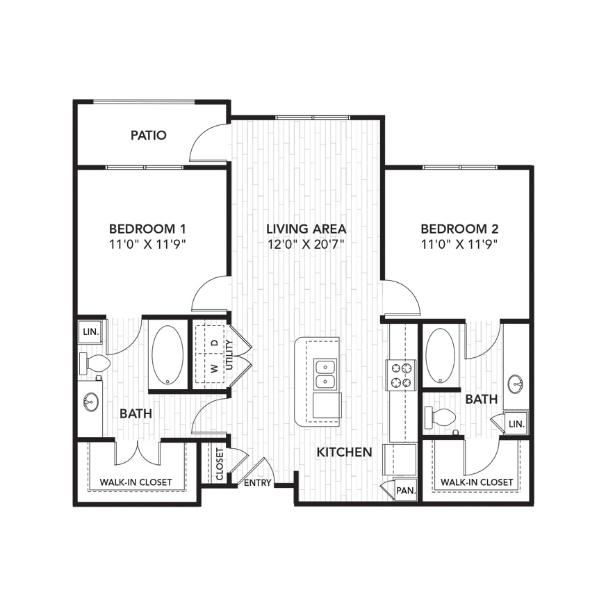 1,051 sq. ft. B3 floor plan